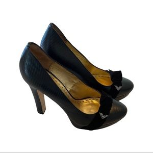 Mimco black leather round toe platform with velvet bow size 41